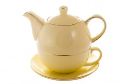 KOMPLET DO HERBATY TEA FOR ONE KREMOWY PORCELANOWY